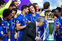 David Luiz chats to Diego Costa as Chelsea celebrate winning the 2016/17 Premier League - Rogan Thomson/JMP - 21/05/2017 - FOOTBALL - Stamford Bridge - London, England - Chelsea v Sunderland - Premier League..