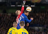 Football - 2018 / 2019 Europa League - Group L: Chelsea vs. FC BATE Borisov<br /> <br /> Ruben Loftus Cheek (Chelsea FC)  proves a handful as he again competes with Denis Scherbitski (FC BATE Borisov) at Stamford Bridge.<br /> <br /> COLORSPORT/DANIEL BEARHAM