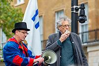Piers Corbyn speeking to Anti-lockdown activists demonstrating against coronavirus restrictions lDowning Street London 10th oct 2020 photo Mark anton Smith