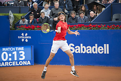 April 29, 2018 - Barcelona, Barcelona, Spain - STEFANOS TSITSIPAS during the semifinal against RAFAEL NADAL in the Barcelona Open Banc Sabadell 2018. RAFAEL NADAL won the match 6-2 6-1. This was RAFAEL NADAL's 11th victory at the tournament. (Credit Image: © Patricia Rodrigues/via ZUMA Wire via ZUMA Wire)