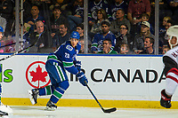 KELOWNA, BC - SEPTEMBER 29:  Brandon Sutter #20 of the Vancouver Canucks skates with the puck against the Arizona Coyotes at Prospera Place on September 29, 2018 in Kelowna, Canada. (Photo by Marissa Baecker/NHLI via Getty Images)  *** Local Caption *** Brandon Sutter;