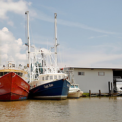 Shrimp boats site at the dock where they would normally off load their catch, the gulf oil spill has halted fishing in the areas near Venice, Louisiana, U.S., on Tuesday, June 15, 2010.  Oil from Deepwater Horizon spill continues to impact areas across the coast of gulf states. (Mandatory Credit: Derick E. Hingle).