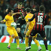 Galatasaray's Engin BAYTAR (L) during their Turkish Superleague Galatasaray between Gaziantepspor at the TT arena in Istanbul Turkey on Wednesday 26 October 2011. Photo by TURKPIX