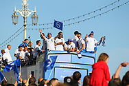 Brighton & Hove Albion centre forward Glenn Murray and Brighton & Hove Albion goalkeeper David Stockdale during the Brighton & Hove Albion Football Club Promotion Parade at Brighton Seafront, Brighton, East Sussex. United Kingdom on 14 May 2017. Photo by Ellie Hoad.