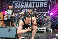 Pigs Pigs Pigs Pigs Pigs Pigs Pigs  live at the Bigfoot Festival Ragley Hall Warwickshire one of the first festivals to open successfully in 2021 photo by Mark anton Smith