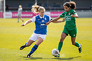 Destiny Toussant of Coventry Utd Ladies battles for possession during the Women's FA Cup match between Birmingham City Women and Coventry United Ladies at Solihull Moors FC, Solihull, United Kingdom on 18 April 2021.