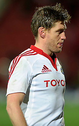 Munster Fly-Half (#10) Ronan O'Gara goes off the pitch disappointed after his sides loss in the match - Photo mandatory by-line: Rogan Thomson/JMP - Tel: Mobile: 07966 386802 16/12/2012 - SPORT - RUGBY - Vicarage Road - Watford. Saracens v Munster Rugby - Heineken Cup Round 4.