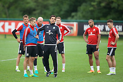 CARDIFF, WALES - Saturday, June 4, 2016: Wales' manager Chris Coleman and David Edwards during a training session at the Vale Resort Hotel ahead of the International Friendly match against Sweden. (Pic by David Rawcliffe/Propaganda)