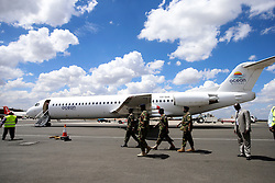 The plane carrying the first 100 batch of Kenya Defense Forces troops from the U.N. peacekeeping mission in South Sudan arrive at JKIA on November 9, 2016. The President ordered them to withdraw in response to the sacking by UN of the Kenyan commander of the UNMISS force Lieutenant General Johnson Mogoa Kimani Ondieki.