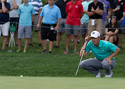 May 31, 2018 - Dublin, OH, U.S. - DUBLIN, OH - MAY 31: Jordan Spieth lines up his putt  during the first round of the Memorial Tournament at Muirfield Village Golf Club in Dublin, Ohio on May 31, 2018.(Photo by Jason Mowry/Icon Sportswire) (Credit Image: © Jason Mowry/Icon SMI via ZUMA Press)