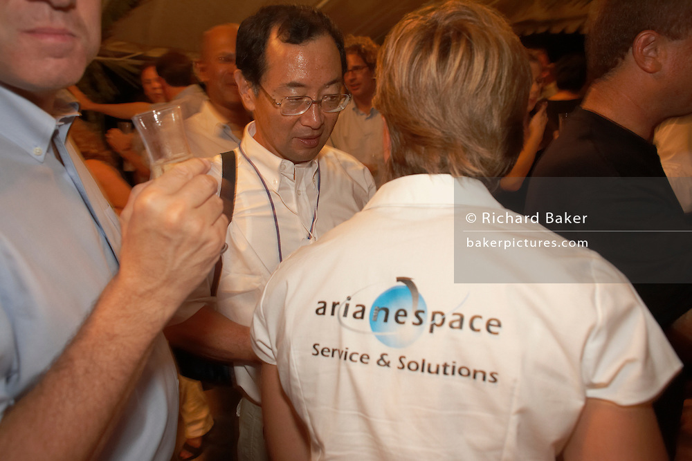 Arianespace hosting post-launch party for European Space Agency Hughes network Systems and Lockheed Martin clients at Kourou.