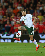 Jeff Hendrick of Republic of Ireland in action.Wales v Rep of Ireland , FIFA World Cup qualifier , European group D match at the Cardiff city Stadium in Cardiff , South Wales on Monday 9th October 2017. pic by Andrew Orchard, Andrew Orchard sports photography