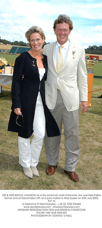 MR & MRS BROOK JOHNSON he is the american multi-millionaire, she was Sally Faber former wife of David Faber MP, at a polo match in West Sussex on 20th July 2003.PLP 74