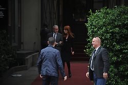 May 13, 2019 - Milan - Milan, Vittorio Feltri and Michela Vittoria Brambilla at lunch together Vittorio Feltri and Michela Vittoria Brambilla, after having lunch together, leave the restaurant ''Il Baretto'', and before leaving with the respective men of the escort they exchange kisses. (Credit Image: © Mimmo Carriero/IPA via ZUMA Press)