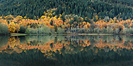 """Fall foliage colours reflecting on the surface of Deer Lake after sundown in Sasquatch Provincial Park near Harrison Hot Springs, British Columbia, Canada. Photographed from """"The Point"""" at Deer Lake near the Bench Campground."""