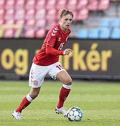 Mikkel Damsgaard (Danmark) under U21 EM2021 Kvalifikationskampen mellem Danmark og Ukraine den 4. september 2020 på Aalborg Stadion (Foto: Claus Birch).