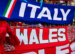 Scarves on sale outside of the stadium<br /> <br /> Photographer Simon King/Replay Images<br /> <br /> Six Nations Round 1 - Wales v Italy - Saturday 1st February 2020 - Principality Stadium - Cardiff<br /> <br /> World Copyright © Replay Images . All rights reserved. info@replayimages.co.uk - http://replayimages.co.uk