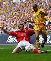 Photo: Steve Bond/Richard Lane Photography. <br /> Ebbsfleet United v Torquay United. The FA Carlsberg Trophy Final. 10/05/2008. Chris Zebroski (R) is tackled by Peter Hawkins (L)