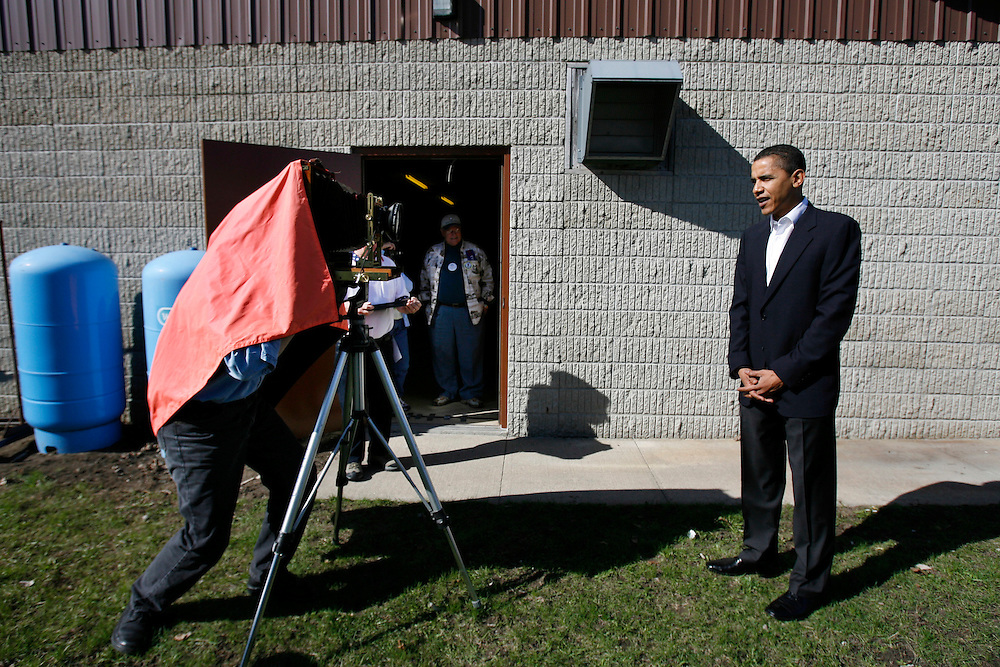 """Illinois U.S. Senator at Presidential candidate Barack Obama poses for a photograph after speaking to a crowd at VFW Post 5240 in Dakota City, Iowa at a """"Meet The Candidate"""" event."""