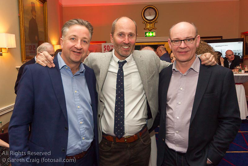 (l to r) Ruan O'Tarnaigh, Séan Craig, and Stephen Boyle at the reunion night to celebrate 50 years of the Irish Fireball Class, held at the Royal St George YC.