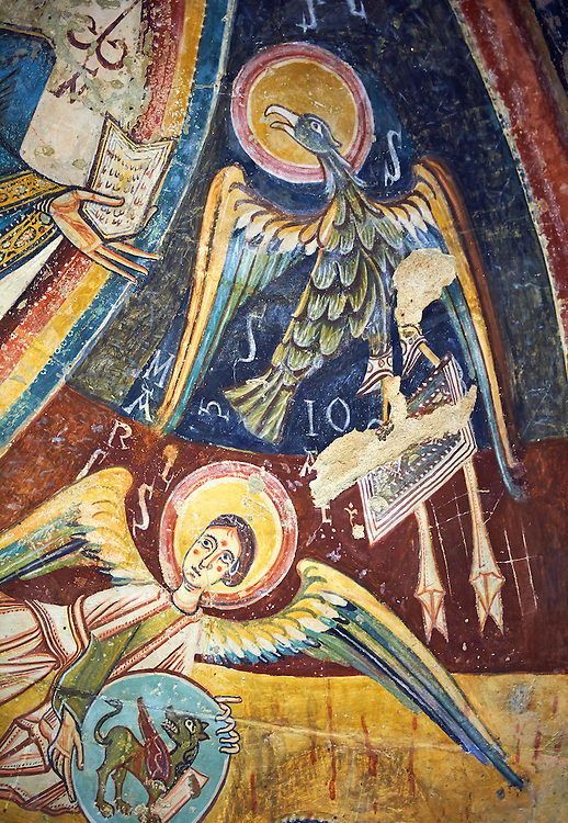 Romanesque frescoes depicting the an Angel with the Eagle that symbolises the St John the Evangelist from the church of Sant Miguel d'Engolasters, Les Escaldes, Andorra.. Painted around 1160. National Art Museum of Catalonia, Barcelona. MNAC 15972 .<br /> <br /> If you prefer you can also buy from our ALAMY PHOTO LIBRARY  Collection visit : https://www.alamy.com/portfolio/paul-williams-funkystock/romanesque-art-antiquities.html<br /> Type -     MNAC     - into the LOWER SEARCH WITHIN GALLERY box. Refine search by adding background colour, place, subject etc<br /> <br /> Visit our ROMANESQUE ART PHOTO COLLECTION for more   photos  to download or buy as prints https://funkystock.photoshelter.com/gallery-collection/Medieval-Romanesque-Art-Antiquities-Historic-Sites-Pictures-Images-of/C0000uYGQT94tY_Y