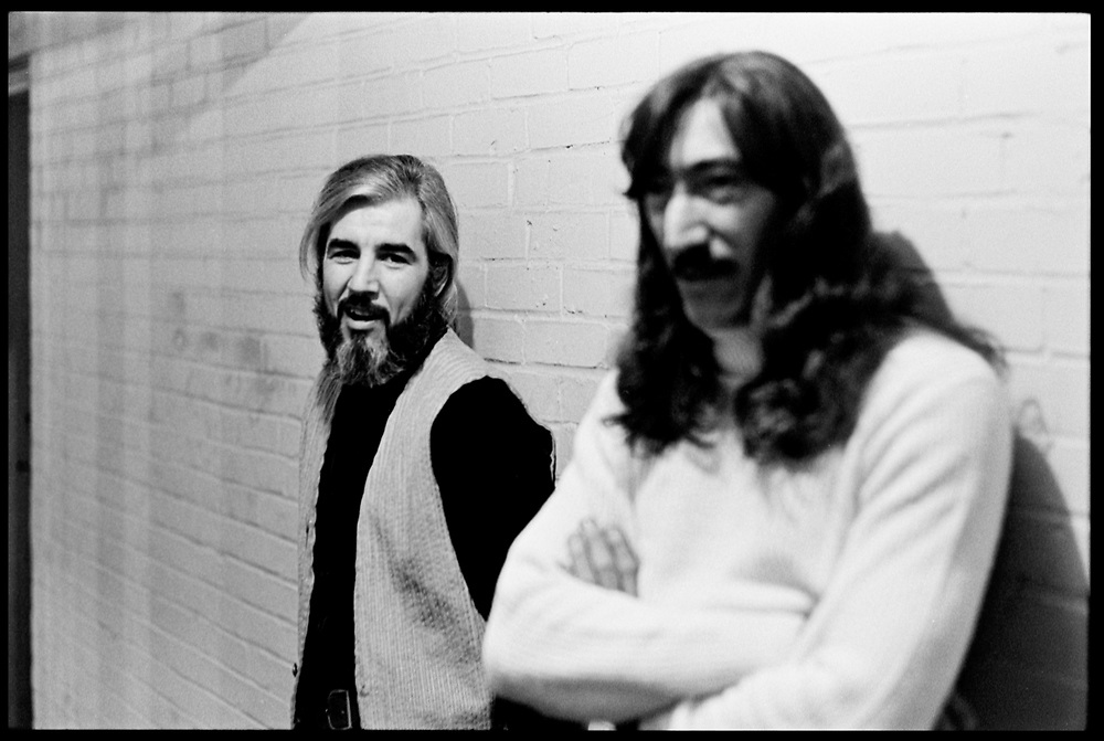 """Fall River, Massachusetts - 18 February 1968. John Leon """"Bunk"""" Gardner (left) and Jimmy Carl Black of tThe Mothers of Invention prior to a performance.<br /> <br /> For licensing of any of the images in this portfolio go to https://www.mptvimages.com/<br /> <br /> For fine art prints, get in touch with me directly."""