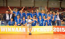 20151011 NED: Supercup Landstede Volleybal - Abiant Lycurgus,  Doetinchem<br /> De volleyballers van Lycurgus hebben op overtuigende wijze de Supercup veroverd. In Doetinchem werd landskampioen en bekerwinnaar Landstede met duidelijke cijfers geklopt: 25-16, 25-17, 25-19 / Lycurgus met se supercup