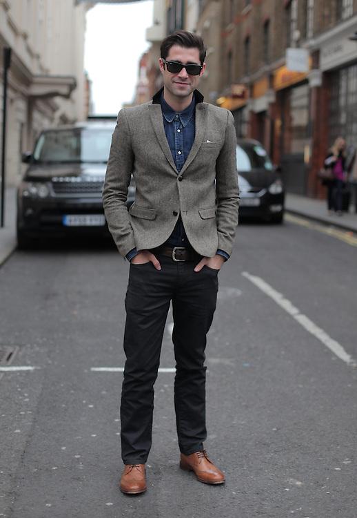 Street fashion on Menswear day during the AW 2012 London Fashion week. 22/02/2012 Matheu Petley/CatchlightMedia