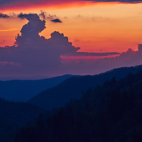 Interesting cloud formation at Sunset from Morton's Overlook in the Great Smoky Mountains N.P.