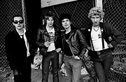The Damned Group photosession on Alexander St. West London. Stiff  Records office 1975