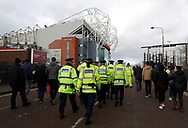 Police arriving at the stadium before the Premier League match at Old Trafford, Manchester. Picture date: 8th March 2020. Picture credit should read: Darren Staples/Sportimage