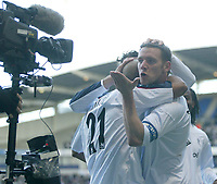 Photo: Aidan Ellis.<br /> Bolton Wanderers v Fulham. The Barclays Premiership. 11/02/2007.<br /> Bolton's Kevin Nolan blows a kiss to the TV cameras after scoring the second goal
