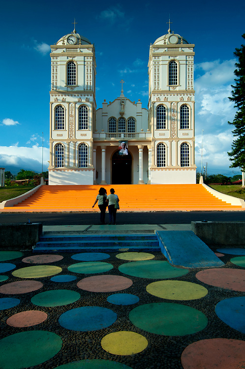 Costa Rica, Sarchi, Twin Towered 'Wedding Cake' Church, Parque Central, Sarchi Church