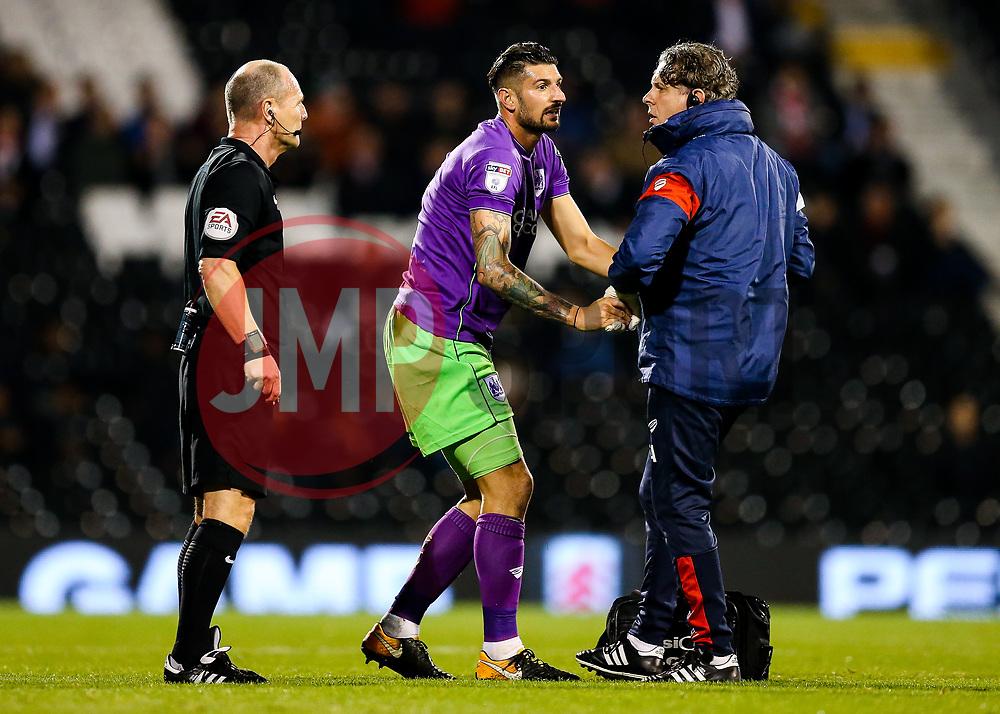 Eros Pisano of Bristol City is injured - Rogan/JMP - 31/10/2017 - Craven Cottage - London, England - Fulham FC v Bristol City - Sky Bet Championship.