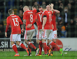 Jonathan Williams of Wales celebrates with his team mates after scoring - Mandatory by-line: Dougie Allward/JMP - Mobile: 07966 386802 - 24/03/2016 - FOOTBALL - Cardiff City Stadium - Cardiff, Wales - Wales v Northern Ireland - Vauxhall International Friendly