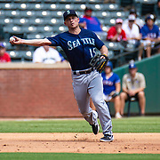Aug 01 2019, Arlington, TX  U.S.A.  Seattle third baseman Kyle Seager (15) makes an infield play during the MLB game between the Seattle Mariners and the Texas Rangers 11-3 win at Globe Life Park in Arlington,TX. Thurman James / CSM