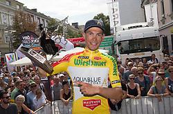 08.07.2017, Wels, AUT, Ö-Tour, Österreich Radrundfahrt 2017, Siegerehrung, im Bild Stefan Denifl (AUT, Team Aqua Blue Sport) im gelben Trikot, Gesamtsieger Österreich Rundfahrt // Stefan Denifl of Austria (Aqua Blue Sport) in the yellow jerseyon Podium during winner ceremony for 2017 Tour of Austria. on Podium during winner ceremony for 2017 Tour of Austria. Wels, Austria on 2017/07/08. EXPA Pictures © 2017, PhotoCredit: EXPA/ Reinhard Eisenbauer