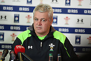 Warren Gatland, the Wales rugby head coach speaks to the press at the Wales rugby team announcement and training at the Vale Resort in Hensol, near Cardiff , South Wales on Tuesday 17th March 2015. The team are preparing for their next RBS Six nations match against Italy this weekend. <br /> pic by Andrew Orchard, Andrew Orchard sports photography.