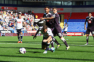 Jay Spearing of Bolton Wanderers breaks clear but takes a tumble.Skybet football league championship match, Bolton Wanderers v Derby County at the Macron stadium in Bolton, Lancs on Saturday 8th August 2015.<br /> pic by Chris Stading, Andrew Orchard sports photography.