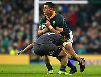 Rugby Union - 2017 Guinness Series (Autumn Internationals) - Ireland vs. South Africa<br /> <br /> South Africa's Jesse Kriel is tackled by Ireland's Bundee Aki, at the Aviva Stadium.<br /> <br /> COLORSPORT/KEN SUTTON