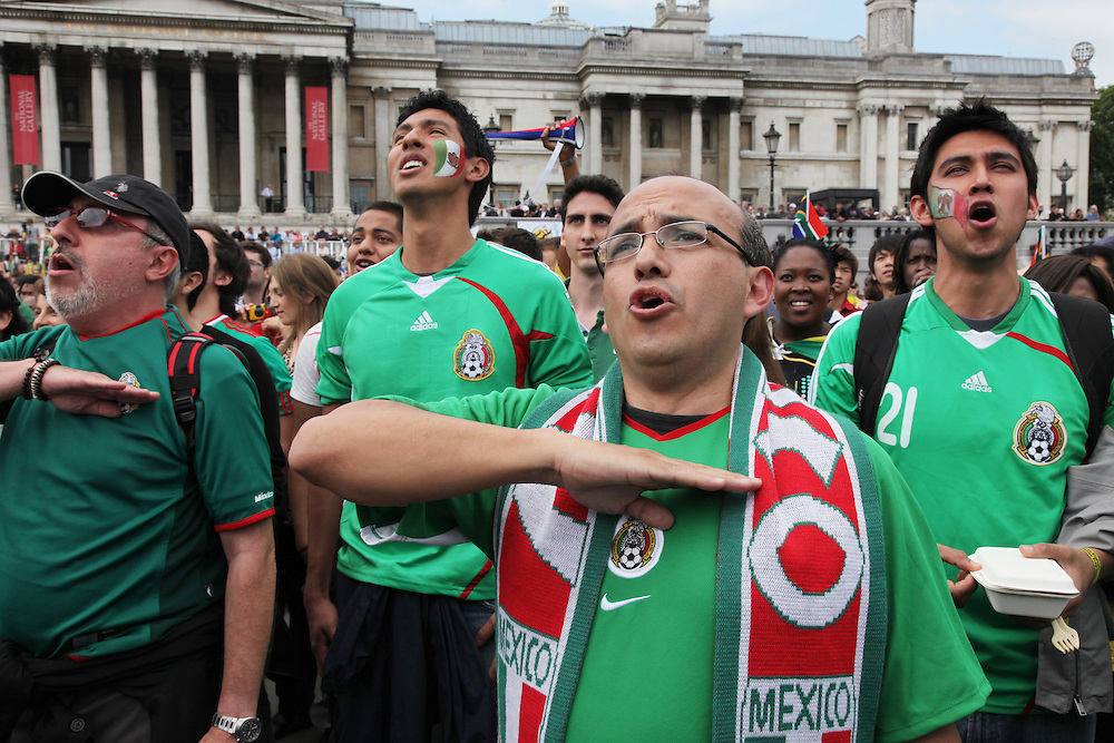South Africa v Mexico, Trafalgar Square<br /> <br /> Copyright: Jonathan GoldbergWorld Cup 2010 watched  on London TV<br /> S.Africa v Mexico, Trafalgar Square