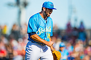Amarillo Sod Poodles pitcher Jesse Scholtens (38) reacts after the first inning against the Tulsa Drillers on Sunday, June 16, 2019, at HODGETOWN in Amarillo, Texas. [Photo by John Moore/Amarillo Sod Poodles]
