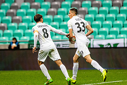 Damjan Trifkovic of NK Rudar Velenje and Milan Tucic of NK Rudar Velenje celebrating during football match between NK Olimpija Ljubljana and NK Rudar Velenje in 25rd Round of Prva liga Telekom Slovenije 2018/19, on April 7th, 2019 in Stadium Stozice, Slovenia Photo by Matic Ritonja / Sportida