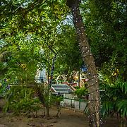 Charming intimate Plaza Fernandez de Madrid, Old City, Cuidad Vieja, Cartagena, Colombia.