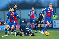Inverness Caledonian Thistle's Joe Chalmers brings down Falkirk's Louis Longridge for their first penalty. Falkirk 3 v 1 Inverness Caledonian Thistle, Scottish Championship game played 27/1/2018 at The Falkirk Stadium.
