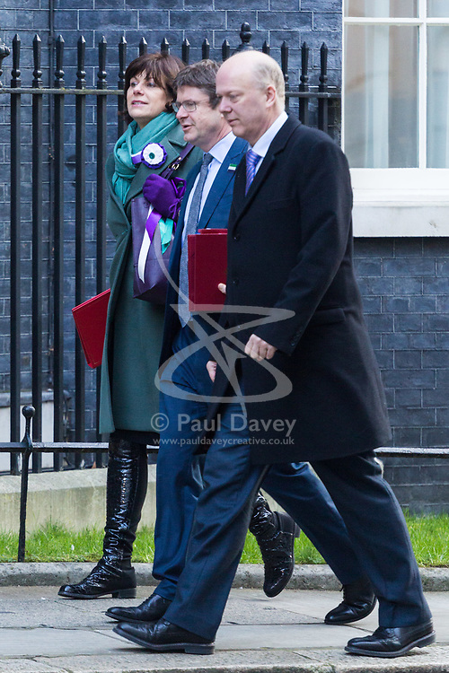 Claire Perry, Minister of State for Energy and Clean Growth, Secretary of State for Business, Energy and Industrial Strategy Greg Clark and Transport Secretary Chris Grayling arrive at 10 Downing Street in London to attend the weekly meeting of the UK cabinet - London. February 06 2018.