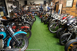 A collection of bikes upstairs at Roland Sands Design (RSD) retail and office location, Los Alamitos, CA. Monday June 25, 2018. Photography ©2018 Michael Lichter.