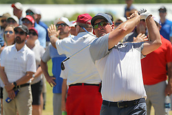 May 17, 2018 - Dallas, TX, U.S. - DALLAS, TX - MAY 17: David Duval (USA) hits from the rough on the 18th hole during the first round of the AT&T Byron Nelson on May 17, 2018 at Trinity Forest Golf Club in Dallas, TX. (Photo by George Walker/Icon Sportswire) (Credit Image: © George Walker/Icon SMI via ZUMA Press)