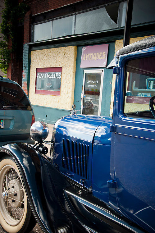 A Model A Ford car in the downtown shopping district of Negaunee, Michigan.