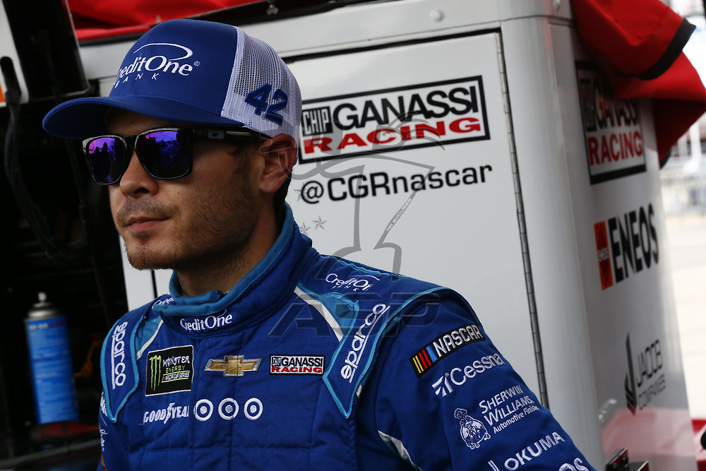 April 28, 2017 - Richmond, Virginia, USA: Kyle Larson (42) hangs out in the garage during practice for the ToyotaCare 250 at Richmond International Speedway in Richmond, Virginia.